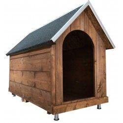 Cuccia in legno per cani con tetto spiovente POBRET