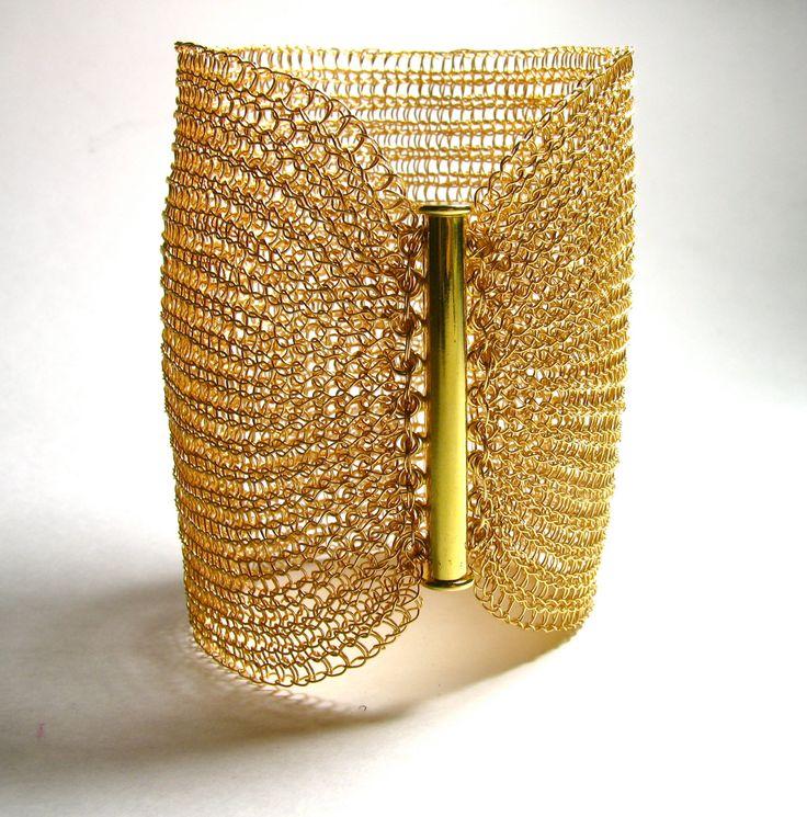 Handmade  cuff bracelet Wire crochet  bracelet  Extra wide cuff Metal gold cuff Fashion jewelry barcelet by KvinTal on Etsy