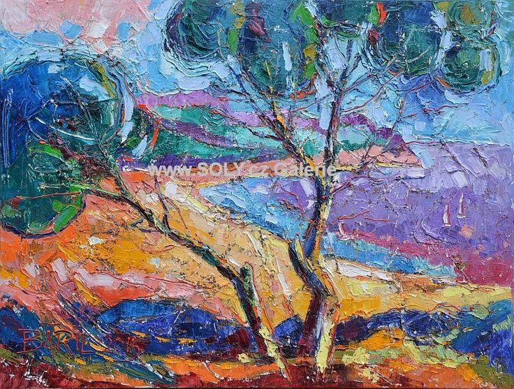 Originální obraz českého malíře ručně malovaný, Světlo a stín, olej na plátně, 62x82 cm, cena 25 000,- Strom, voda