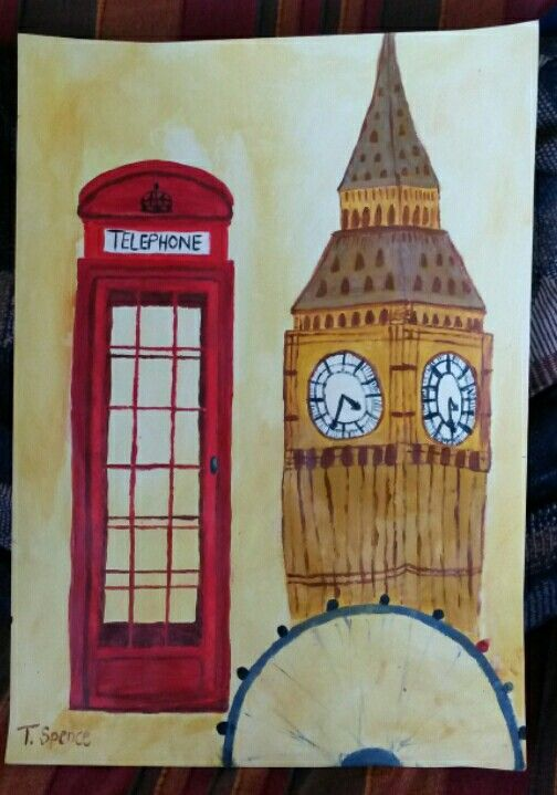 London acrylic painting. By Tracy.