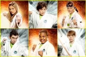 Kickin It Cast; from top to bottom, left to right: Olivia Holt (Kim), Leo Howard (Jack), Jason Earles (Rudy), Mateo Arias (Jerry), Alex Jones (Eddie), and Dylan Riley Snyder (Milton)