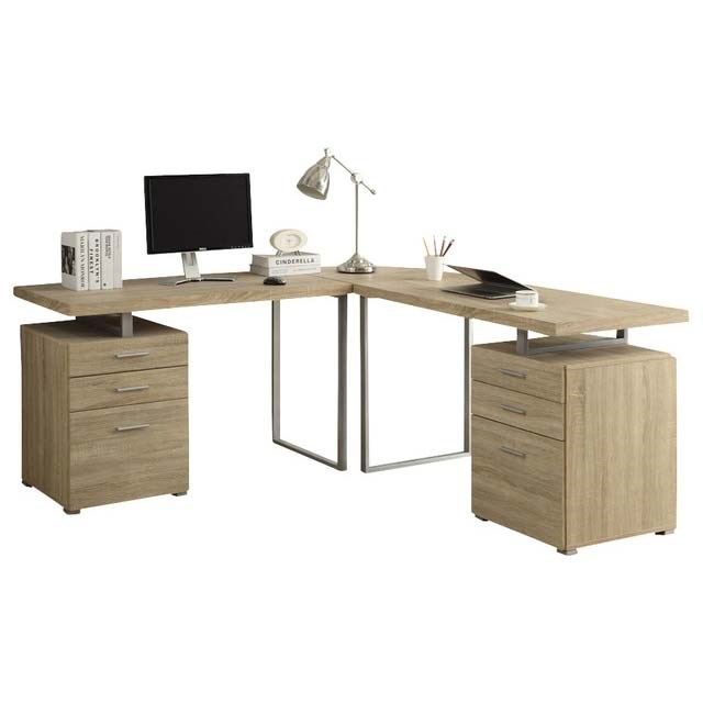 Monarch Specialties I7226-3 Reclaimed-Look 3 Pieces Desk Set in Natural