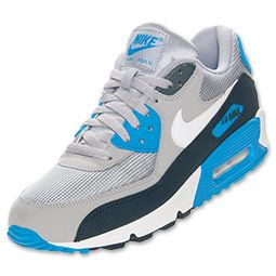 #Eminem #MMLP2 #AIRMAX Men's Nike Air Max 90 Essential Running Shoes | FinishLine.com | Wolf Grey/White/Armory Navy