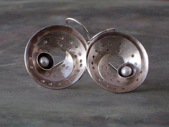 Round Twist Sterling Silver Ribbon Earring, White Pearl Earring, Wrap Silver Earring, Whimsical Earrings, Modern High Fashion Jewelry
