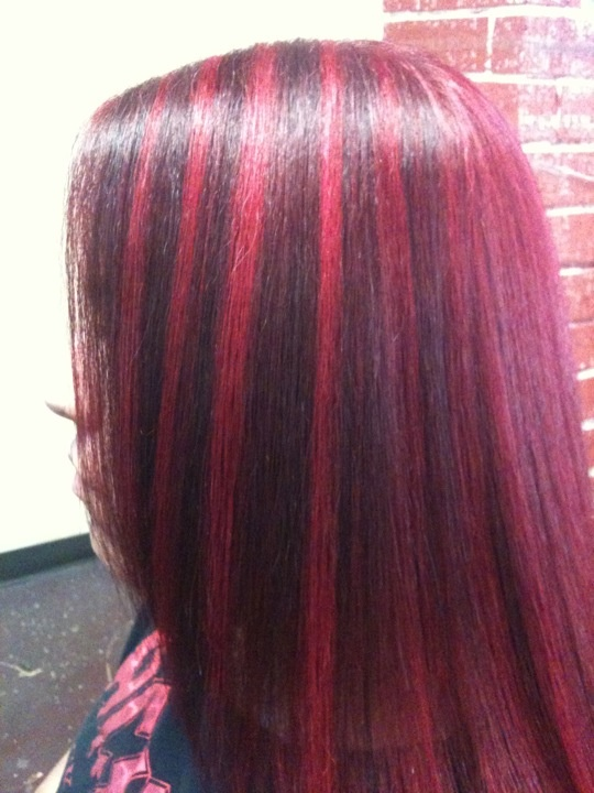 Dark Red Base W Intense Magenta Highlights Hair Color