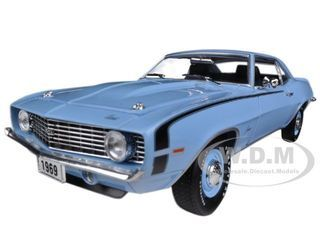 1969 Chevrolet Camaro SS 396 Azure Turquoise Metallic 1/24 Diecast Car Model by M2 Machines