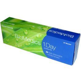 Biomedics 1 Day to miękkie soczewki kontaktowe codziennej wymiany o uwodnieniu 52% do noszenia dziennego. Przeznaczone do korekcji wady w zakresie +6.00D do -10.00D. Cechy tej soczewki to: codzienny komfort noszenia, filtr UV.