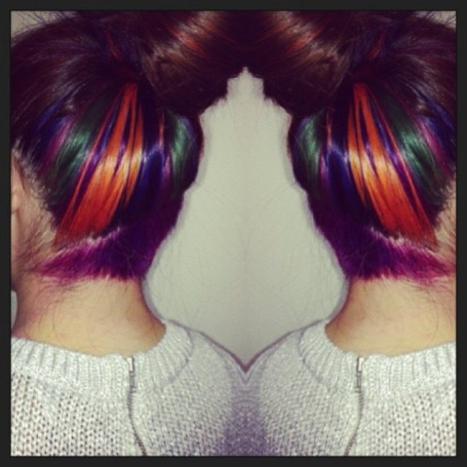 My multi-coloured hair with a purple undercut