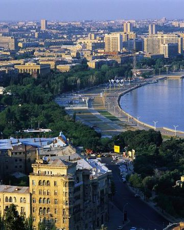 The harbor of Baku, the capital, is known as the finest on the Caspian Sea.  Photograph by Jeremy Horner/CORBIS