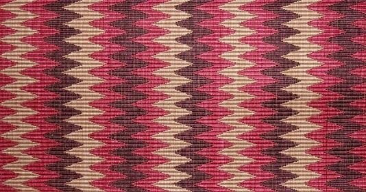 Zig Zag Upholstery Fabric Woven ottoman style fabric with zigzag design insand, raspberry pink and purple
