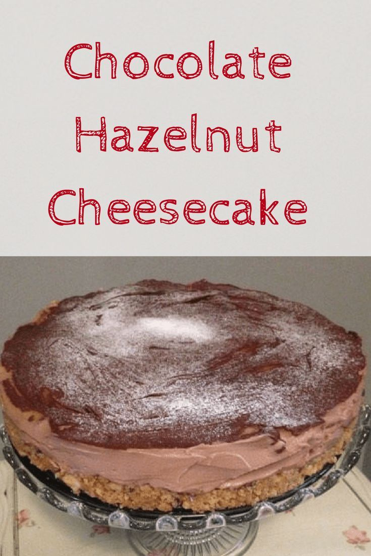 Chocolate Hazelnut Cheesecake – No baking required!Chocolate hazelnut cheesecake is one of my favorite quick and easy cheesecake recipes. With just five ingredients, it�s simple to make and as it�s no bake you really can�t go wrong. What�s even better is