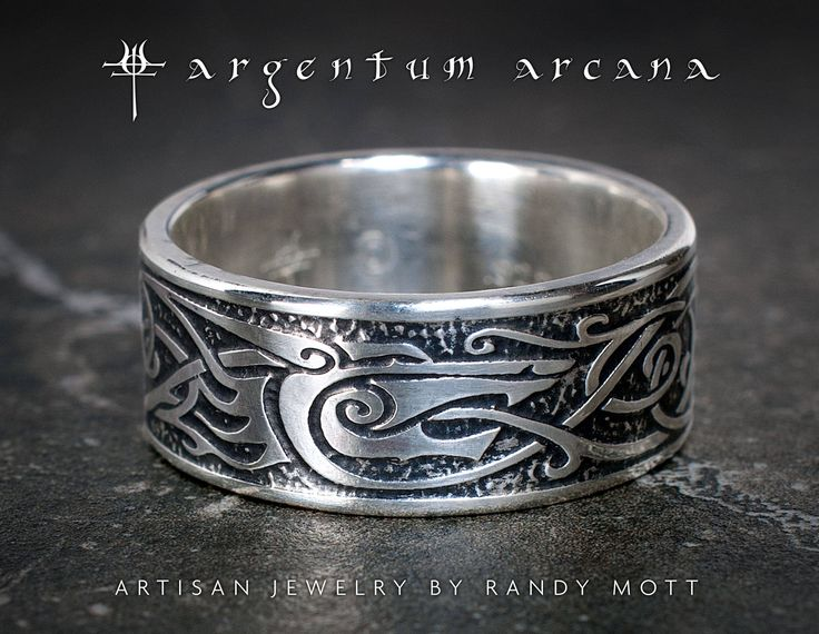 Lovely Hand Etched Sterling Silver Wolf Ring By Argentum Arcana