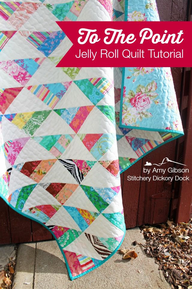 """Just 1 jelly roll and a couple of yards of white gave me 2 nice sized quilts- each 51″ square!  These are VERY quick, with minimal cutting, and are just perfect for a beginner, or any quilter who just wants to """"get to the point"""" and stitch up some fast n' easy gift or donation quilts."""