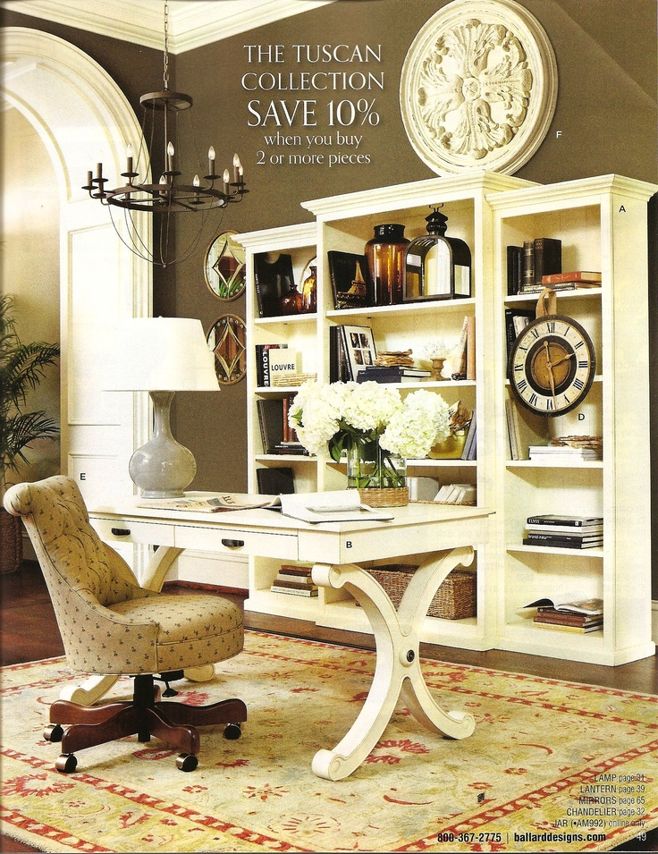 home office design ideas tuscan. ballard designs: the tuscan collection with whitley desk. :) · home office decoroffice ideascottage design ideas