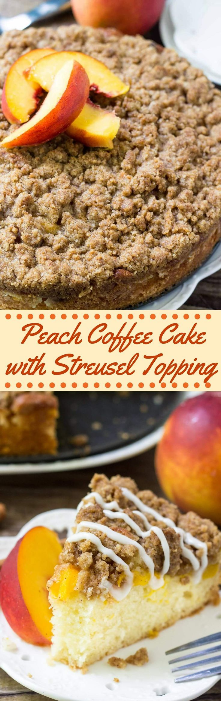 This Peach Coffee Cake with streusel topping is the perfect recipe for late summer. Moist vanilla cake, juicy peaches and crunchy cinnamon streusel. Make it with fresh or canned peaches - either way, you'll love this easy coffee cake recipe. via @ohsweetbasil