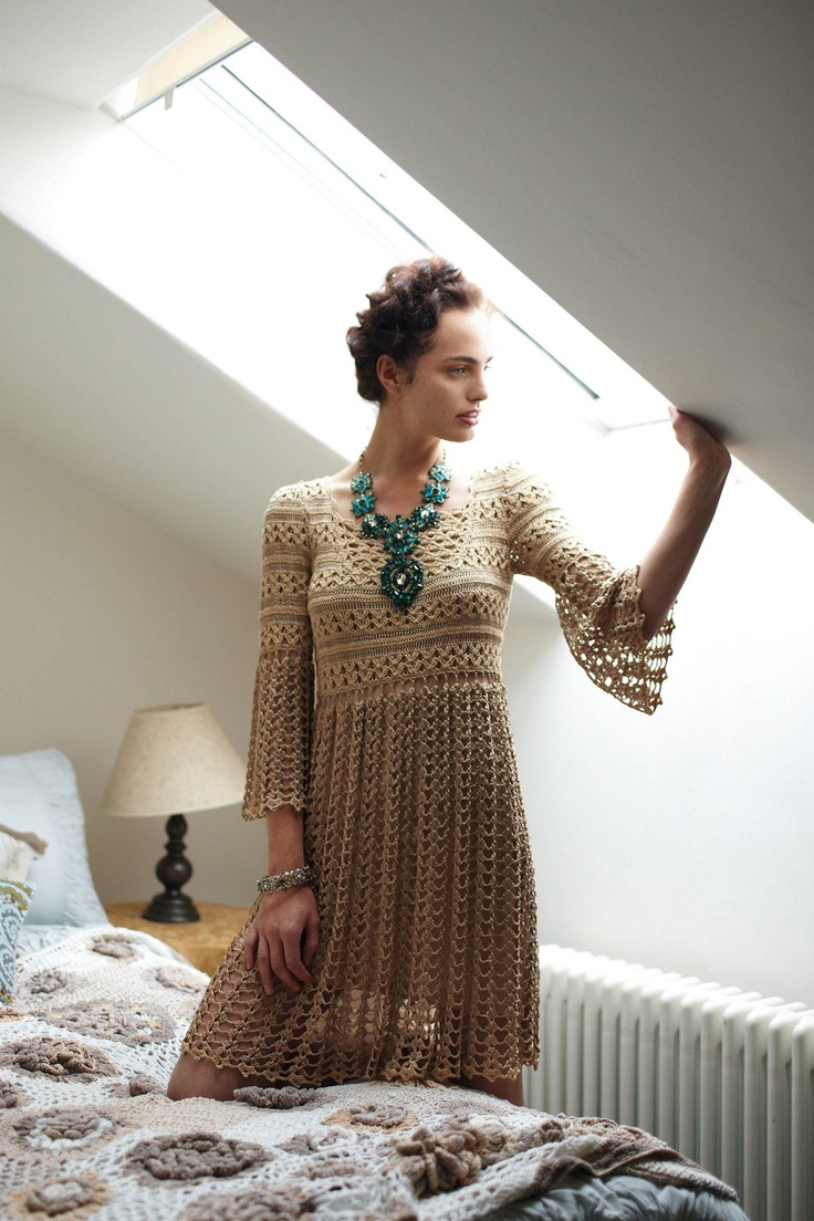 Shimmered Crochet Dress - Anthropologie.com