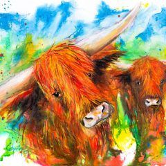 Ink Series-Highland Cows I