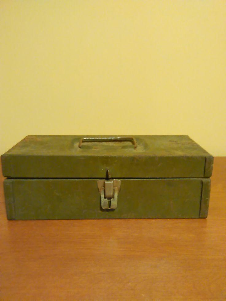 Vintage green small metal box, Vintage metal tool box,  Small industral metal…