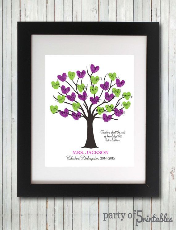 Teachers Gift Fingerprint Tree Thumbprint Tree Teacher Appreciation Students Kindergarten Preschool Elementary Wall Art - Printable Wall Art