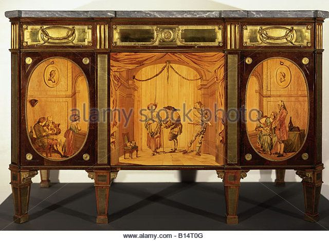 fine arts, furniture, chest of drawers, scenes from theatre, by David Roentgen (1743 - 1807), Neuwied, circa 1780, - Stock Image