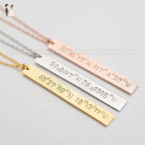 Vertical Coordinates Bar Necklace/ Personalized Latitude Longitude Necklace, Gold Long Bar Necklace, Custom Bridesmaid Jewelry, Location Necklace NBR009-4 - Wedding nacklaces (*Amazon Partner-Link)