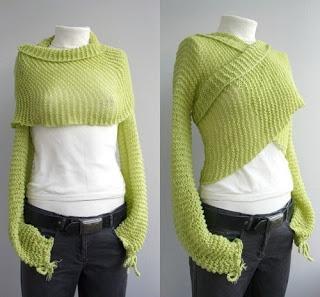 iKnitts: Patron para tejer a dos agujas | Bolero Wrap en Mohair verde
