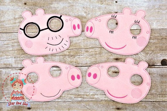 These are cute and adorable Peppa Pig and friends masks. You choose which one you want or get them all! Awesome for dress-up play, birthdays, Halloween, Christmas presents and so much more!  Made from eco friendly felt and professionally machine stitched and hand cut by me. Backed with same felt material. Each mask will come with 12 inch soft elastic (will fit most children).  NOTE: These masks are sized for children, generally ages 2-9. Some patterns will be different.  Items are made to…