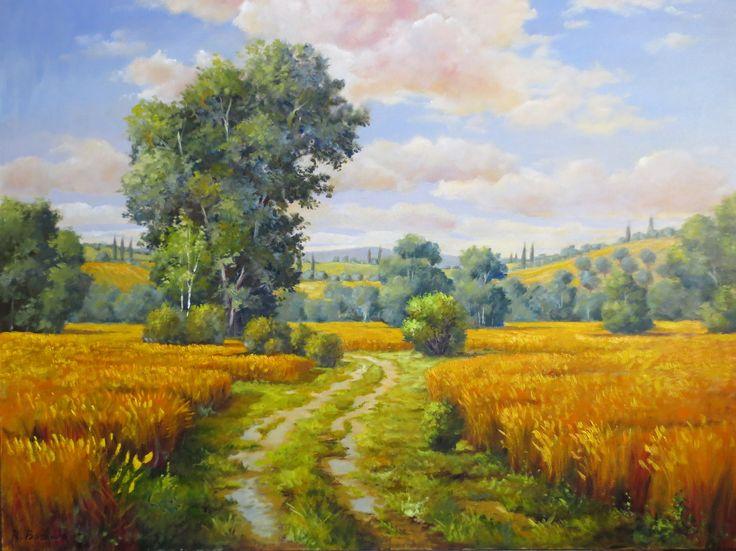 campi di grano   olio su tela  50 x 70
