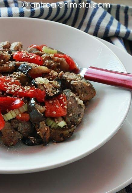 Insalata Tiepida di Pollo e Tacchino con Sedano, Melanzane e Peperoni - Chicken and Turkey Salad with Celery, Eggplant and Peppers