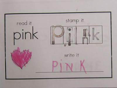 Read it, Stamp it, Write it...Color WordsSight Words, Colors Words, Colors In Kindergarten, Writing Center, Stamps Book, Joy Learning, Colors Stamps, Spelling Words, Kindergarten Blog