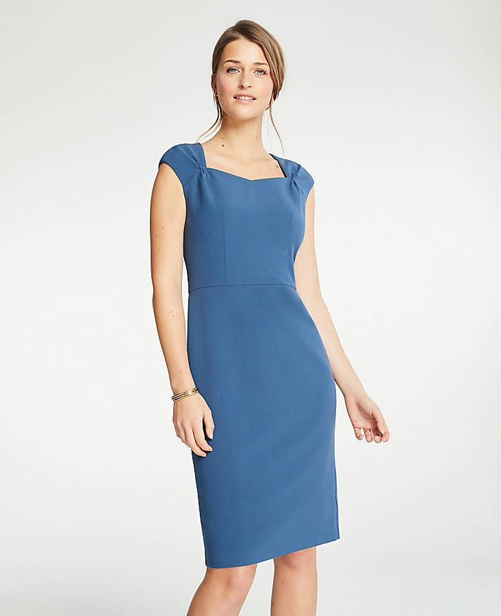 72b18f03066 Shop Ann Taylor for effortless style and everyday elegance. Our Gathered Cap  Sleeve Doubleweave Sheath
