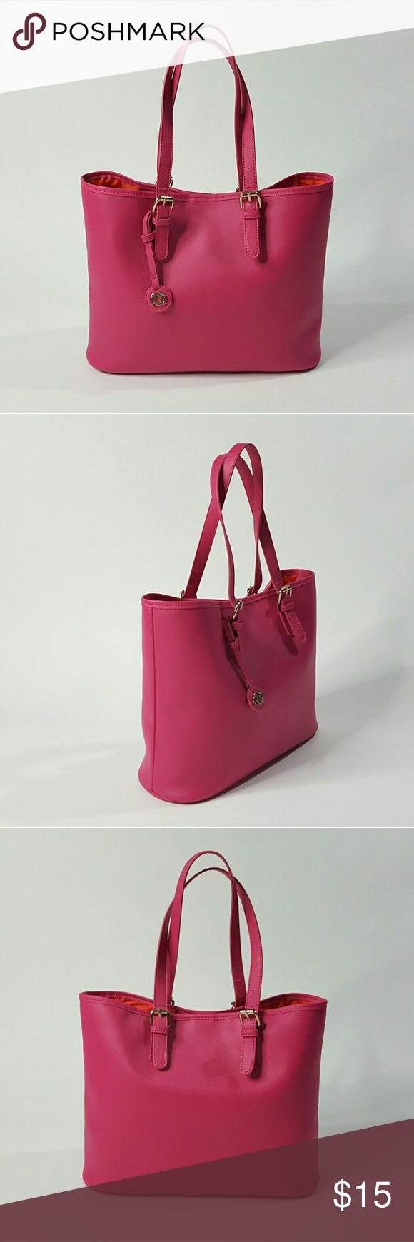 """Tote Bag Pink & Orange Handbag Preloved  Height: 11"""" Width: 5 1/4"""" Length: 14 1/4"""" Strap length: 25 1/2"""" Strap width: 3/4""""  Details: Faux leather, slughtly stiff, not soft.  Gold metal detail. Two inside pockets with one zipper compartment. Metal clasp for closure. Lining is orange nylon.  Adjustable straps.  Bag in great condition.  Barely used. ?? Bags Totes"""