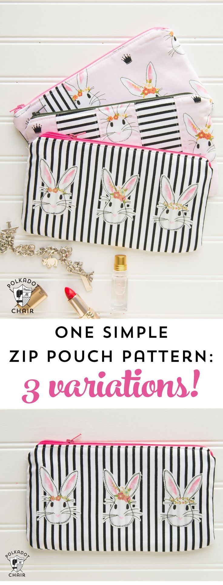 Cute Variations for a Simple Zip Pouch Pattern