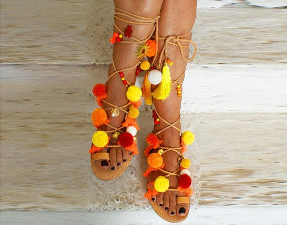 Pom Pom sandals/ Gladiator Sandals/ Tie up Sandals/ by magosisters