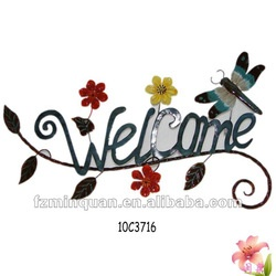 Flower curved handmade welcome signSigns Hanging, Welcome Signs, Signs Products, Signs Handmade, Doors Signs, Signs Welcome Doors