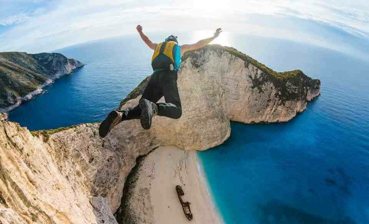 Base-jumping in Navagio beach, Zante island, Greece CallGreece.gr