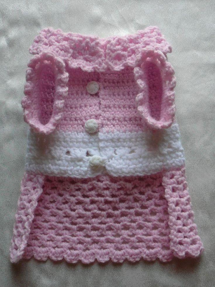 Crocheted pet dog clothes apparel sweater dress coat s xs xxs pink la ...