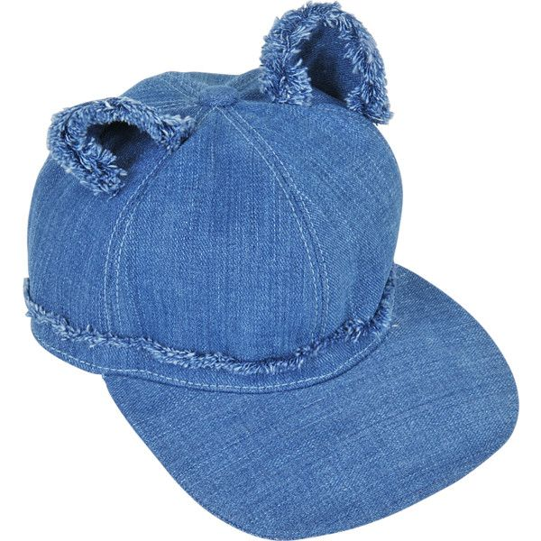 Karl Lagerfeld Denim Cat Ears Cap S ($100) ❤ liked on Polyvore featuring accessories, hats, blue, denim cap, cat ear cap, blue cap, cap hats and blue hat