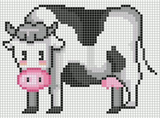 borduren koe kruissteekpatronen cow cross stitch chart