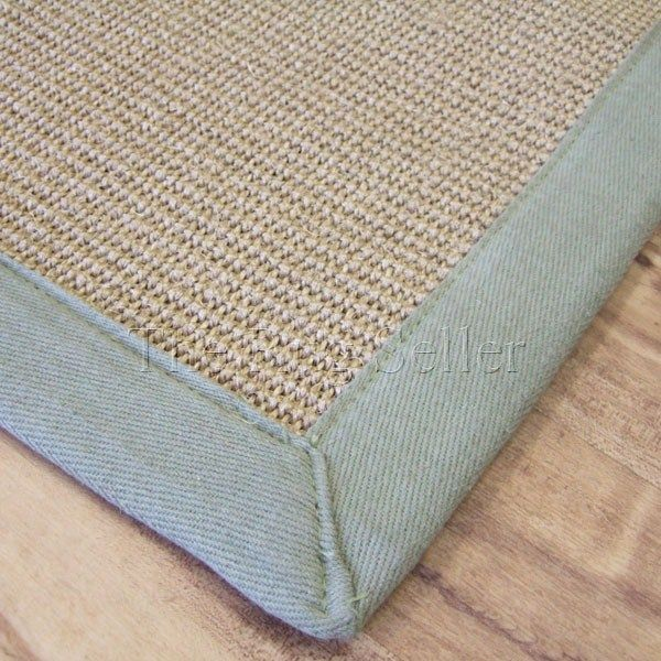 Sisal Rugs In Linen With Sage Green Border Online From The Rug Er Uk