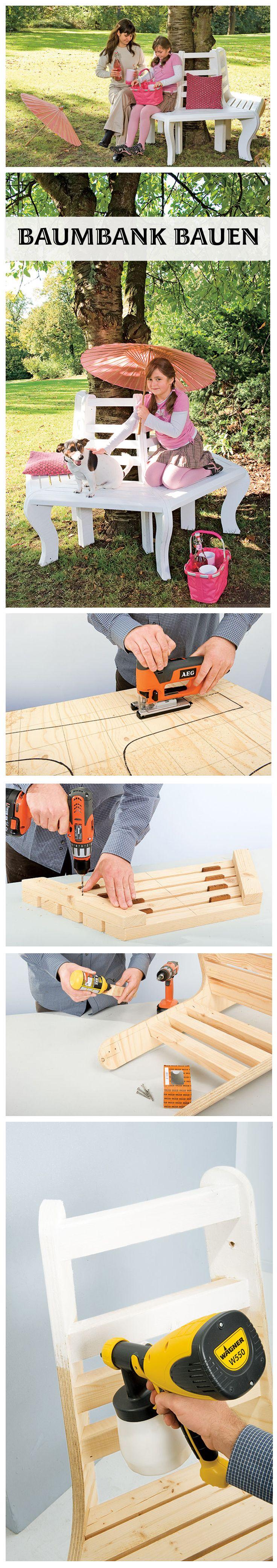 Baumbank: Eine Bank, die kreisförmig einen Baum umschlingt. Klingt simple und so ist es auch, denn mit unserer Bauanleitung kannst du dir eine klassische Baumbank selbst bauen.