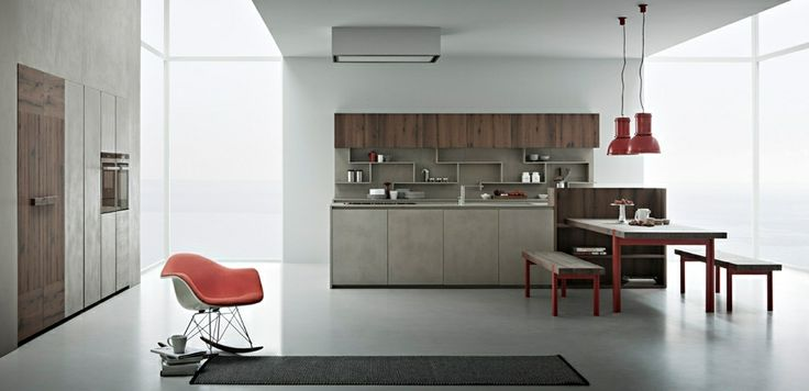 Zampieri - Line K #kitchen in cement resin and seasoned oak.