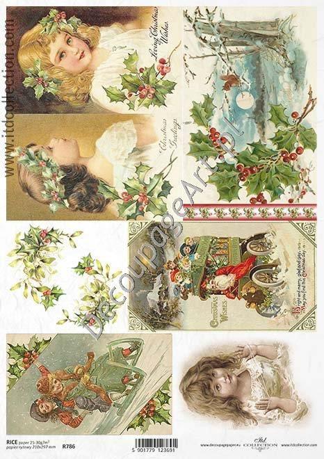 Papier ryżowy ITD Collection 786 - Zimowe dziewczynki Papier do decoupage - sklep DecoupageArt.pl