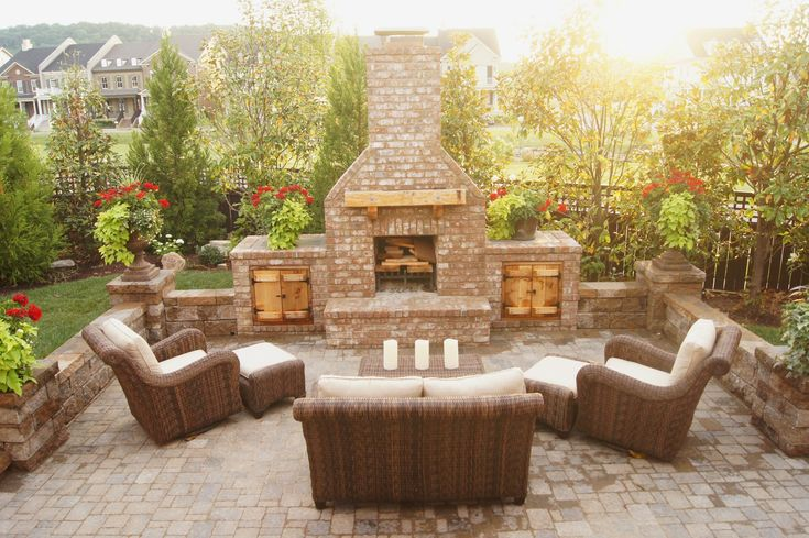 Outdoor Brick Fireplace & Wood Boxes Franklin TN by Tennessee Craftsmen, LLC