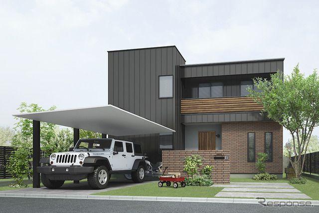 Lixilが次世代カーポート発表 アルミ材のシンプル構造で住宅にマッチ 施工性や質感を向上 全画面画像4枚目 レスポンス Response Jp モダンなカーポート 外観 住宅 モダン 外構 デザイン モダン