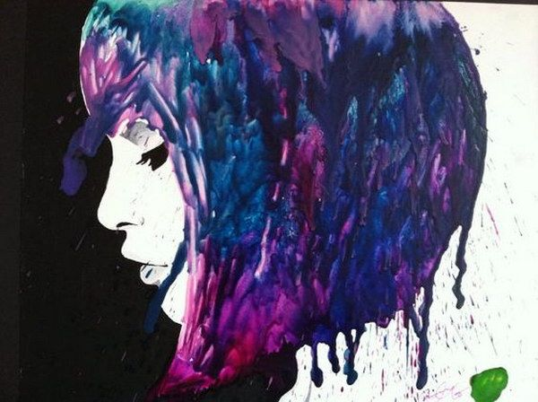 Melted Crayon Art of a Thoughtful Girl with Crayon Hair.