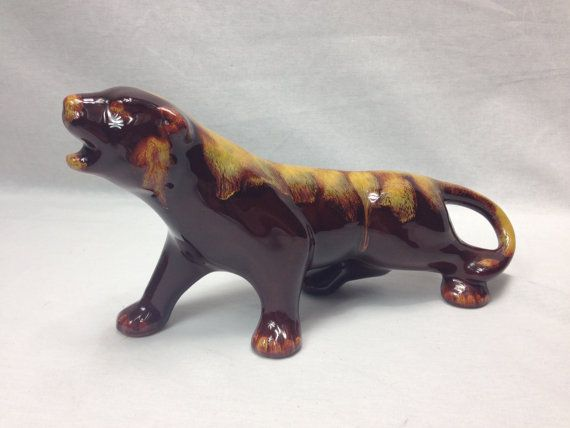 Blue Mountain Pottery Golden Panther Tiger by VeryVintageCanadian