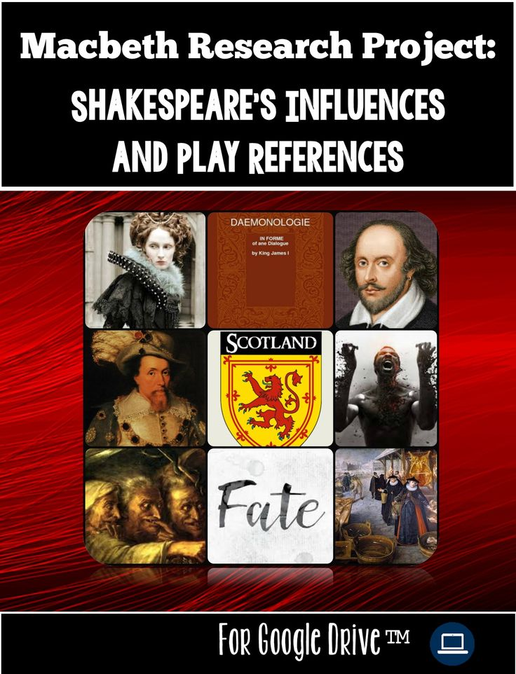 Heighten your students' interest prior to reading Macbeth or utilize this research project as an extension study of Macbeth topics and themes! The research topics in this project will also prepare students by building a frame of reference for the play's setting, the characters in Macbeth, and the conflicts that occur throughout the play.