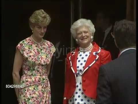 July 17, 1991: Princess Diana and First Lady of the USA, Barbara Bush, at an AIDS Clinic in Middlesex Hospital. Princess of Wales and Barbara Bush leaving the hospital entrance Zooms in as they chat. Part 1. TX 17.7.91 (ITN Video footage).