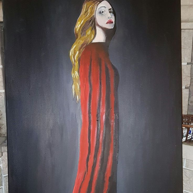 Lady in red oil